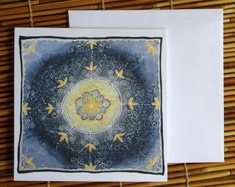 Lotus Mandala Greeting Card - Print of Original Silk Painting