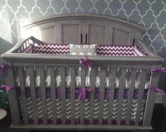 Crib Bedding Set Gray Purple Elephant Made to Order