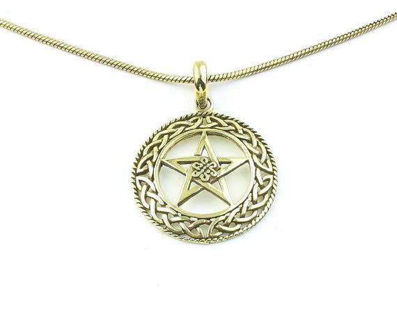 Pentacle Necklace, Brass Pentagram Pendant, Star, Wicca, Wiccan, Magic, Celtic Knots, Festival, Boho, Bohemian, Gypsy, Hippie, Spiritual