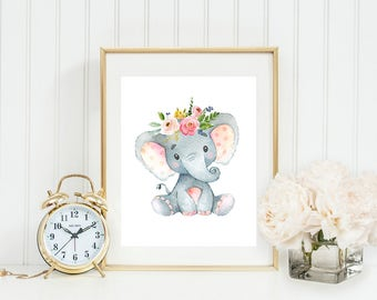 Elephant Printable Nursery Elephant Wall Art Pink and Gray Floral Nursery Decor Grey Nursery Elephant Decor Safari Animal African Zoo Animal