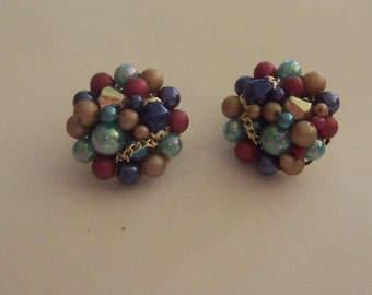 Mid-Century Cluster Earrings -- Intricate multi-colored and style bead design - JAPAN