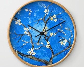 wall clock, analog clock, bedroom clock, blue clock, van gogh, prints of van gogh, clock, clocks for children, turquoise print, blue clocks