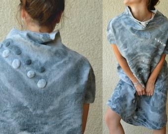 Felted dress , Nuno felt dress,  Batik, Light gray, White spots,  Wearable Art, Felted clothing, Designer dress, Hand made, Eco-fashion