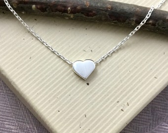 Tiny floating heart necklace, dainty sterling silver 925 bridesmaid, maid matron of honor sister gift, everyday minimalist jewelry N400S