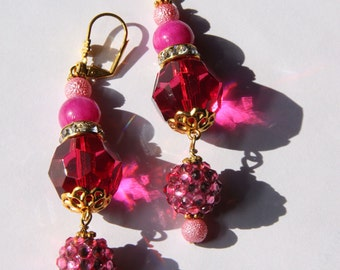 "3"" 1/4 L  Pink, Raspberry Jade, rhinestone ball dangle / drop earrings"
