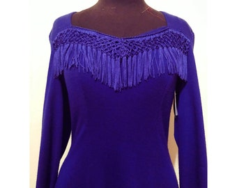 Vintage Vivid Violet Fringe Bodycon Dress