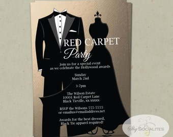 Black tie invitation red carpet party hollywood party red bronze black tie invitation instant download rose gold faux foil metallic awards ceremony red carpet party prom stopboris Images
