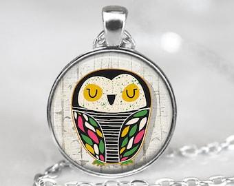 Owl Pendant, Bird Art Necklace, Owl Jewelry, Bird Art Pendant, Bird Jewelry, Owl Gift, Owl Art Pendant, Bronze, Silver, 063