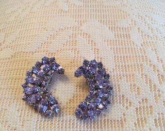 Purple Cluster Earrimgs ~ Clip On ~ Semi circle ~ Vintage