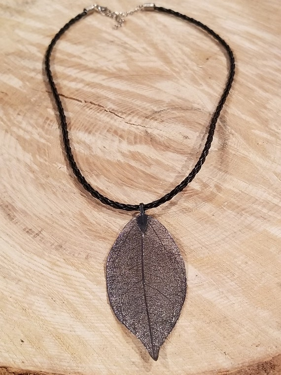 Dark Metal Dipped Walnut Leaf Necklace Outdoor Rustic Earth Boho Nature Earth Collection (N401)