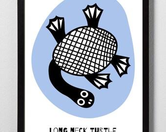 Long Neck Turtle Digital Print A4