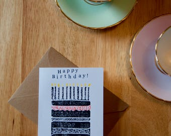 Cake Birthday Card - Original Linocut, Watercolour & Crayon