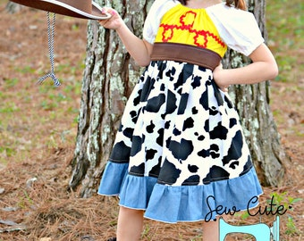 Cow Girl, Cow Girl Dress, Jessie Dress, Toy Story Character, Cow print, Peasant Dress, Jessie Toddler Dress, Cowgirl outfit, Disney Inspired