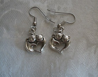 Earrings, Pig Heart, Silver, Post or Ear wire, Jewelry, by Brendas Beading on Etsy