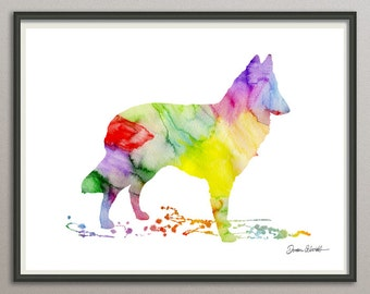 belgian tervuren art print watercolor print silhouette print poster wall art decor drawing, dog wall art poster watercolor