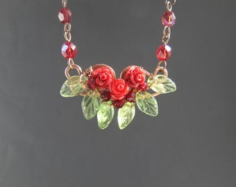 Red rose necklace, romantic copper botanical garden blossom spring inspired resin jewelry, gift for girlfriend wife mother grandma