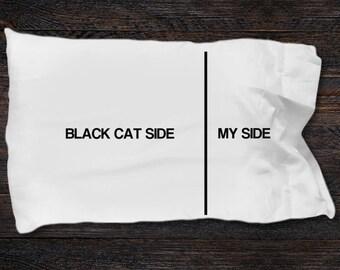 Black Cat Pillow Case - Black Cat gifts - Black Cat Side- My Side