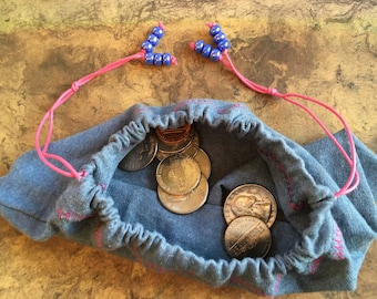 Blue And Pink Draw String Coin Purse
