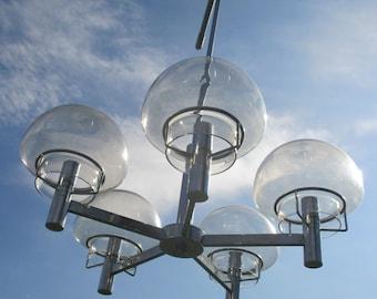 Vintage Sciolari Chrome Amber Glass lights Mid Century Stunning
