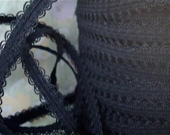 5yds Black Elastic Lace Trim 1/2 inch - 13mm - Black Elastic Stretch Lace Headbands Ruffle Elastic by the yard