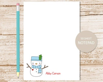 personalized notepad . snowman note pad . cute snowman notepad . personalized stationery . stationary . youthful, winter
