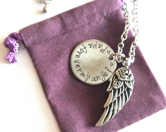 Remembrance Urn Wing Charm Necklace - Custom - Personalized - Hand Stamped - Cremation Jewelry - Memorial Jewelry - Ashes - Sympathy Gift