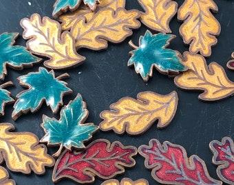 41 Guilloche Enamel Leaves. leaf  component. Guilloche stamping.  No.00200