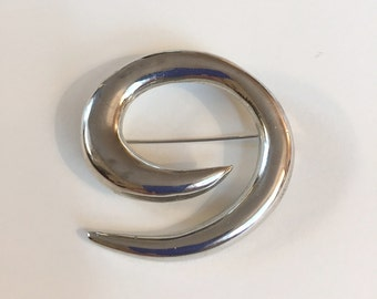 Vintage Modern Swirl Design Silver Tone Large Statement Brooch