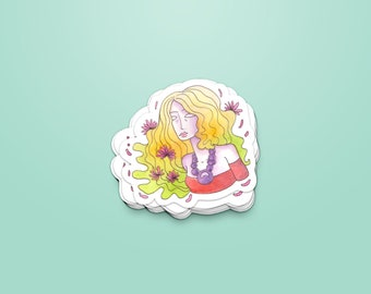 Woman & flowers - Sticker ~ Lucile Farroni