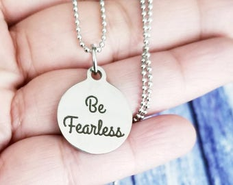 Be Fearless Necklace, Be Fearless, Fitness Necklace, Quote Necklace, Inspirational Gifts, Gifts For Her, Crossfit Gift, Motivational Charm