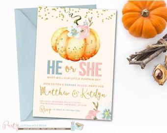Pumpkin Gender Reveal Invitation, Pumpkin Invitation, Pumpkin Baby Shower Invitation, Fall Gender Reveal Invitation, Gender Reveal