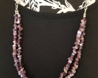 Two strand gemstone chip necklace