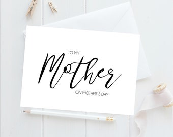 Mothers Day Card, Happy Mother's Day Card, Calligraphy Cards, Mothers Day Card Unique, Mothering Sunday, Mum Card, Mom Card, Best Mom Ever