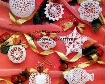 17 Christmas Ornaments Crochet Pattern PDF Christmas Tree Trims Decorations Christmas Balls Stars Fish Heart Instant Download PDF - 1069
