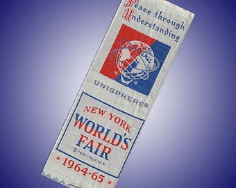 New York World's Fair Unisphere 1964 Silk Ribbon Bookmark Unused
