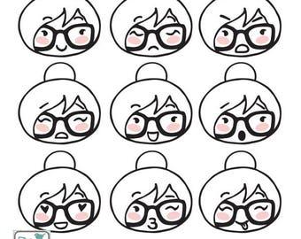Planner Girl - Faces Stamp Clipart - Planner Stickers, scrapbook , card design, invitations, paper crafts, web design, INSTANT DOWNLOAD