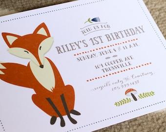 Customizable Kid's Birthday Party Invitation: Frisky Fox