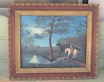 "Antique Oil Painting, Horse Riders in the Moonlight. 27"" by 24"" Oil on Board"