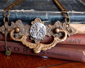 Steampunk Jewelry, Steampunk Necklace, Door Knocker Necklace, Watch Movement Jewelry, Free Shipping