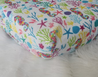 Seahorse Coral Reef  - Fitted Crib/Toddler Sheet - Rainbow - Flannel Diaper Changing Pad Cover