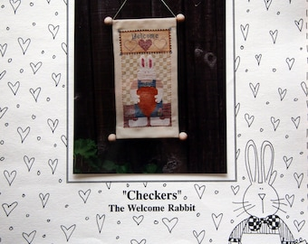 Checkers The Welcome Rabbit By Mosey 'N Me Vintage Cross Stitch Pattern Leaflet 1995