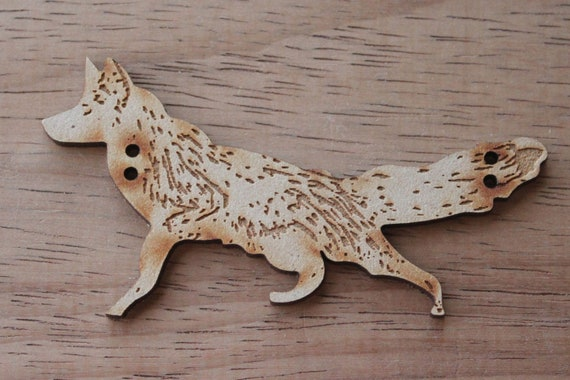 1 Craft Wood Mr Fox Button, 8.5 cm Wide, Laser Cut Wood