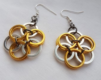 Gold and silver plated Helm flower chainmaille earrings