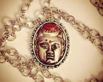 Silver Buddha with Accents Necklace -Great Holiday Gift-
