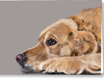 5 x 7 Note Card, Blank Card, with Envelopes Golden Retriever