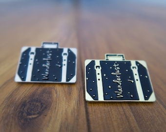 Wanderlust Pin (Gold/Silver) - Suitcase Luggage Travel Enamel Pin Brooch