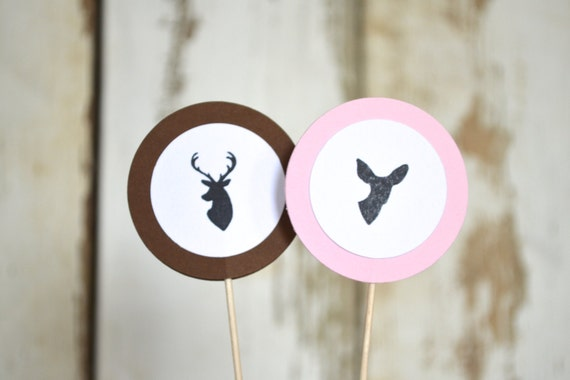 Is It A Buck or Doe? Pink and Brown Gender Reveal Cupcake Picks
