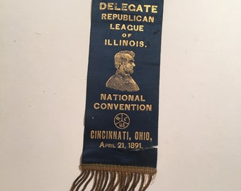 1891 Republican National Convention Delegate Ribbon, Delegate for the Republican League of Illinois
