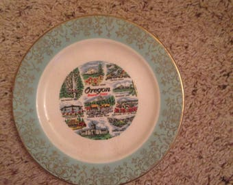 Vintage 8 inch plate of state of oregon