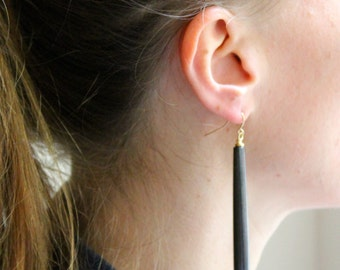 Horn Earrings/Real Horn Earrings/Drop Earrings/BLACK Horn Earrings/Tribal Earrings/Boho Jewelry/Horn Jewelry/Gift for her/Dangle Earrings